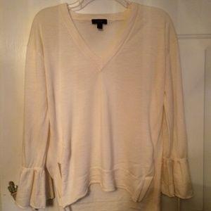 J Crew Cream Sweater w/Ruffle Sleeves Size M